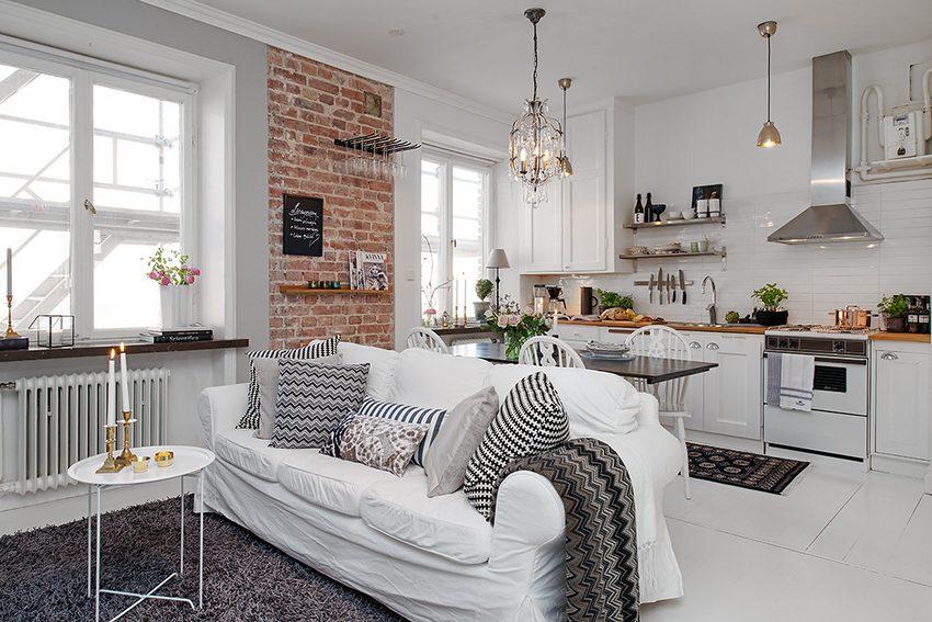 Интерьер кухни гостиной в скандинавском стиле фото