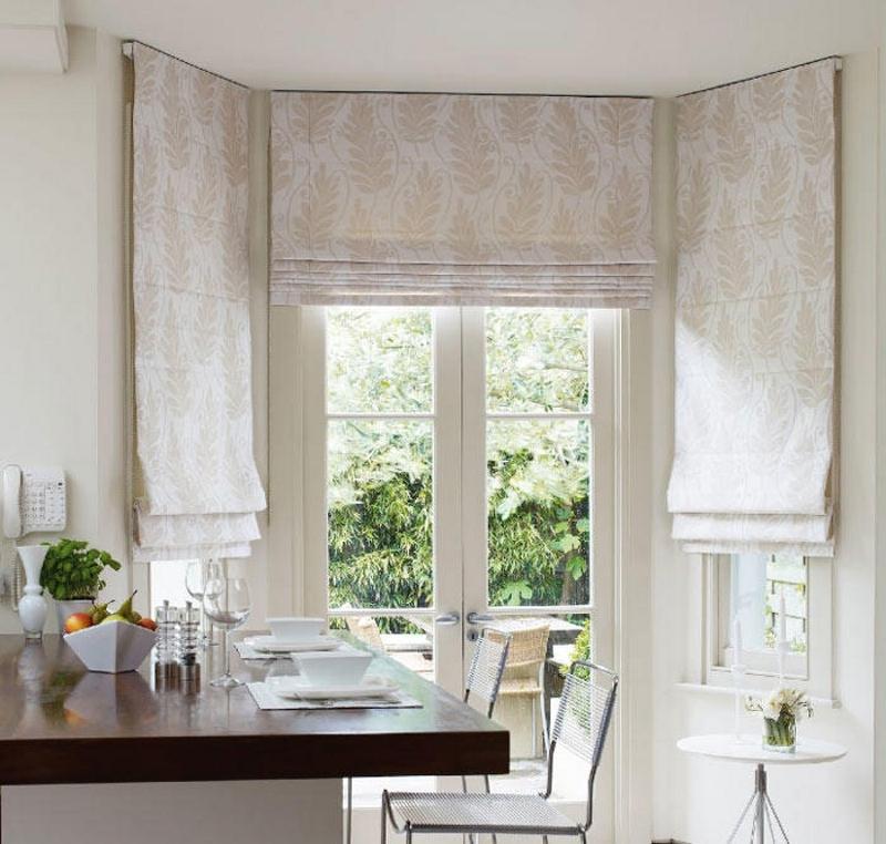 Синтетические римские шторы для кухни