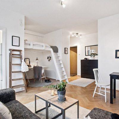 Функциональная гостиная в скандинавском стиле