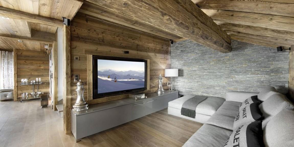 Чаще всего при оформлении интерьеров в стиле шале в качестве отделки используют дерево и камень