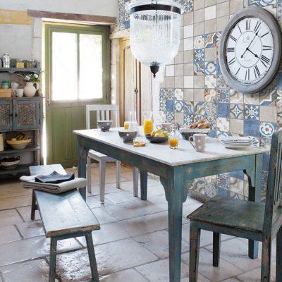 Плитка пэчворк на кухне в стиле шебби-шик