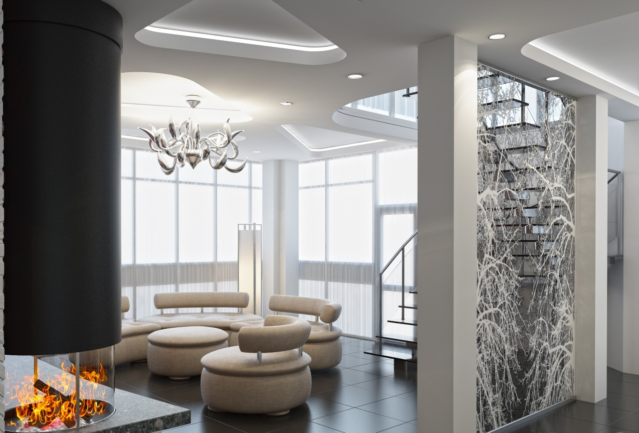 Люстры модерн в интерьере в стиле хай-тек