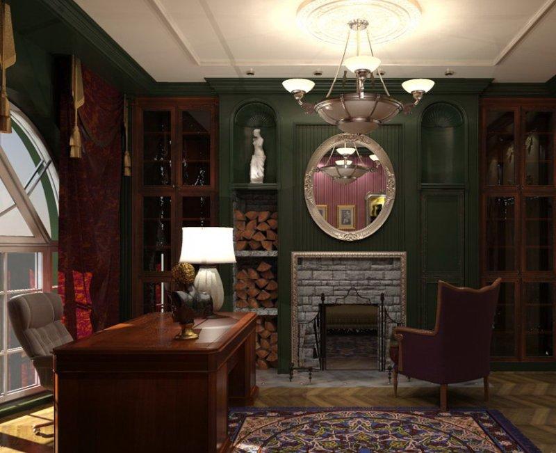 Камин в кабинете в английском стиле