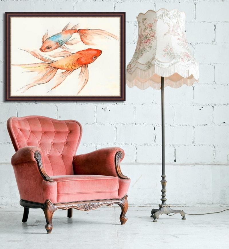 Картина с золотыми рыбками в интерьере