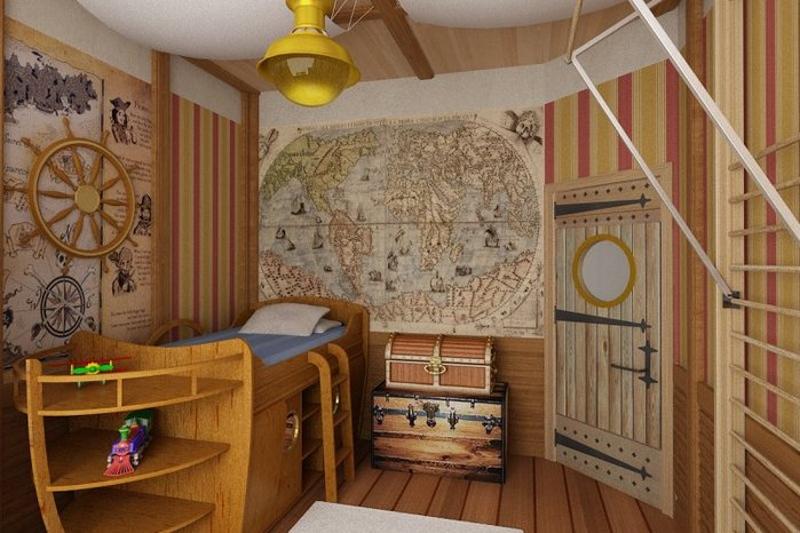 Оформление детской комнаты в виде корабельной каюты