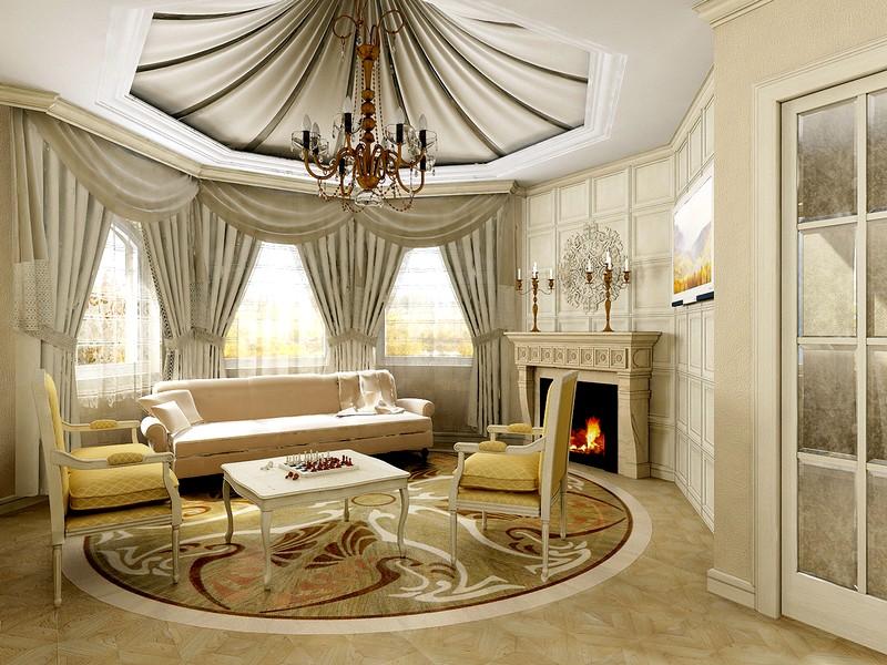 Ремонт и в гостиная в классическом стиле