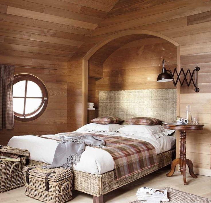Клетчатый принт в спальне в стиле английского кантри