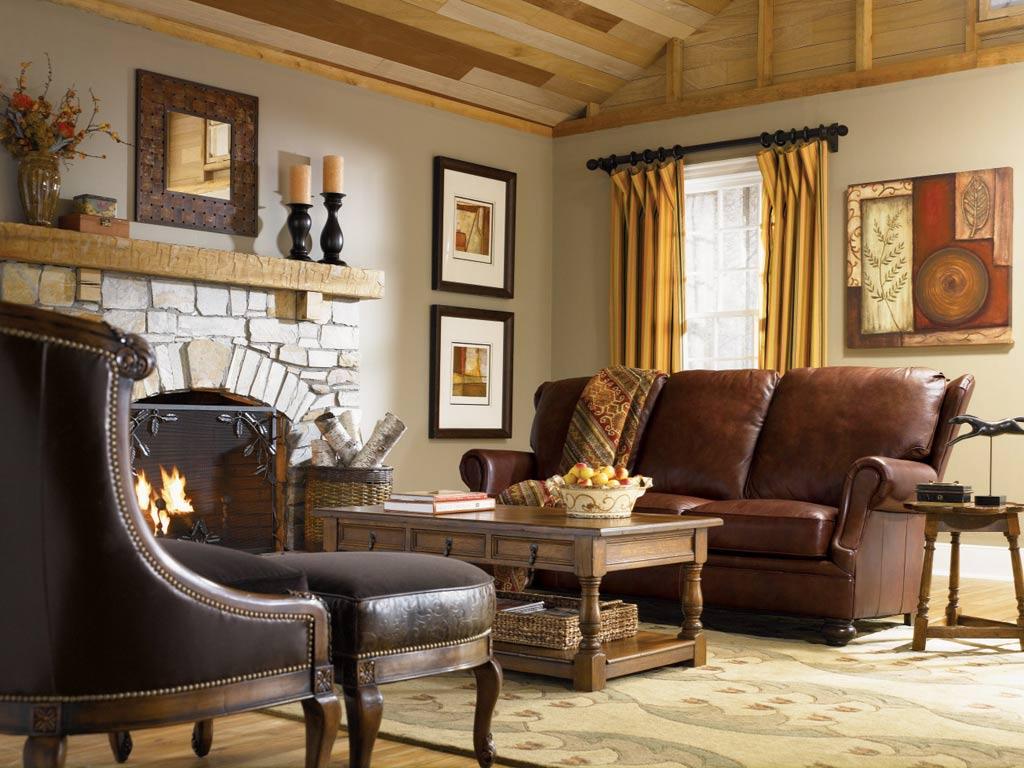 Кожаный диван в стиле кантри