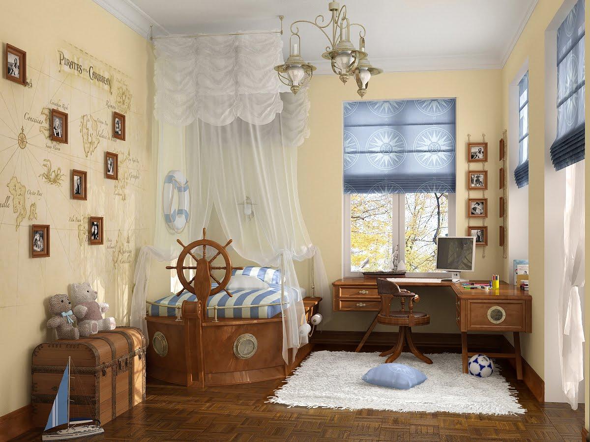 Кровать с парусами–балдахином в морском стиле