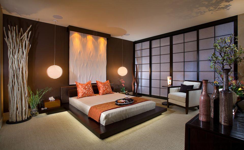 Японский стиль предполагает простое оформление потолка