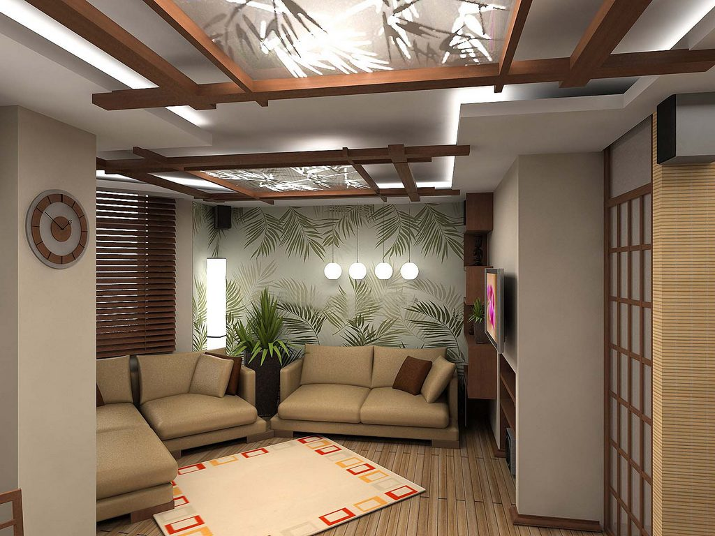 В современных комнатах в японском стиле хорошо смотрится комбинированнный вариант отделки стен
