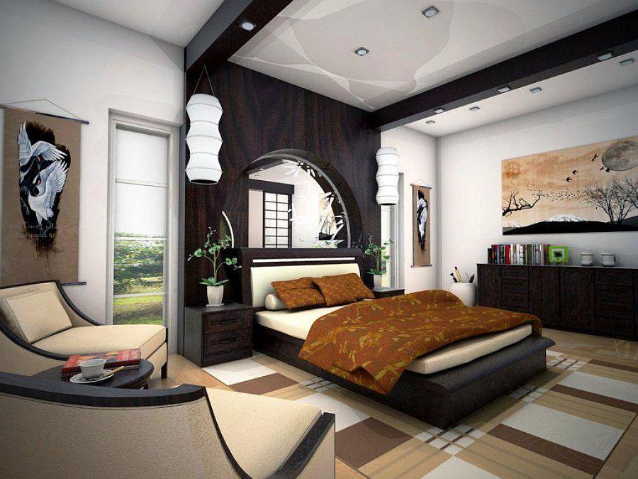 Шикарная японская спальня с контрастной отделкой