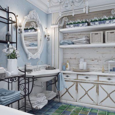 Кованные элементы в ванной в стиле ретро
