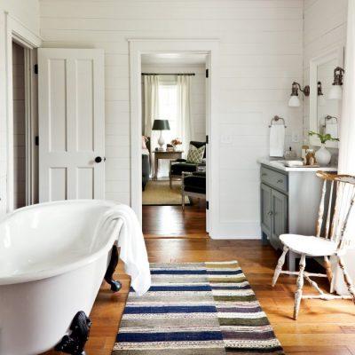 Коврик в ванной в стиле ретро