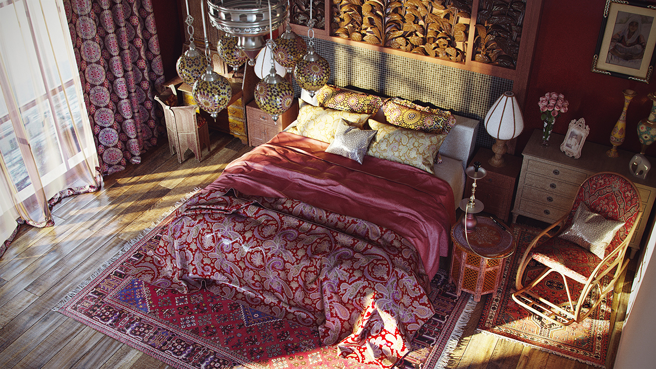 Ковры на полу в спальне в восточном стиле