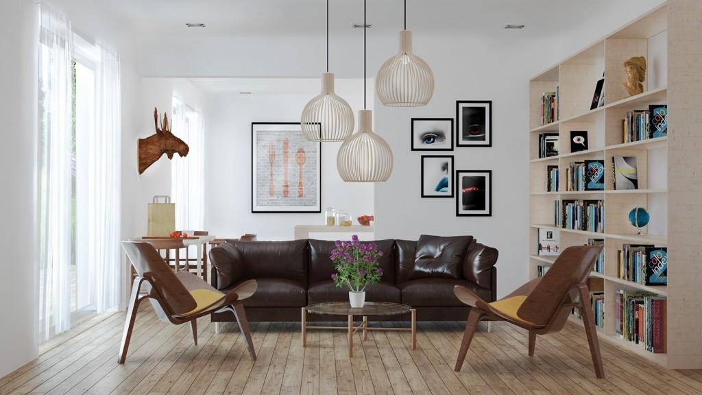 Кожаный диван в скандинавском интерьере
