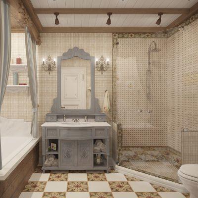 Зеркало с тумбой в ванной