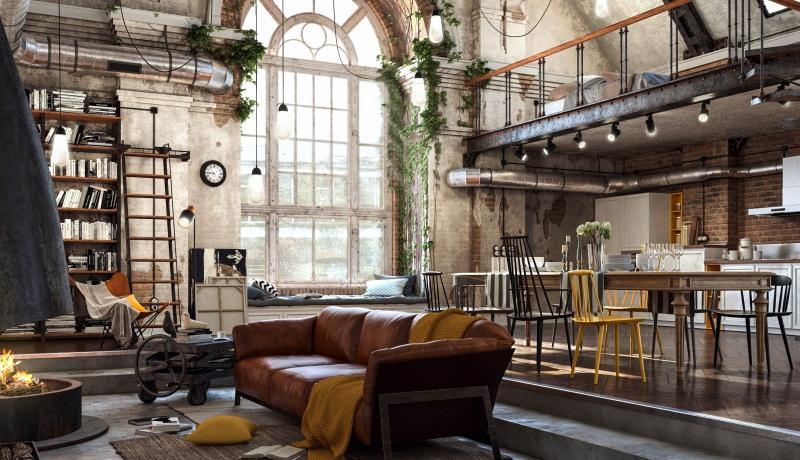 Рзнообразие фактур и декоративные мелочи способны оживить и добавить уюта лофт интерьеру в большом помещении