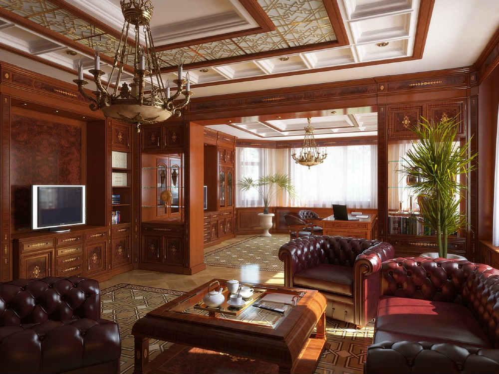 Люстры в кабинете на потолке в кабинете в английском стиле
