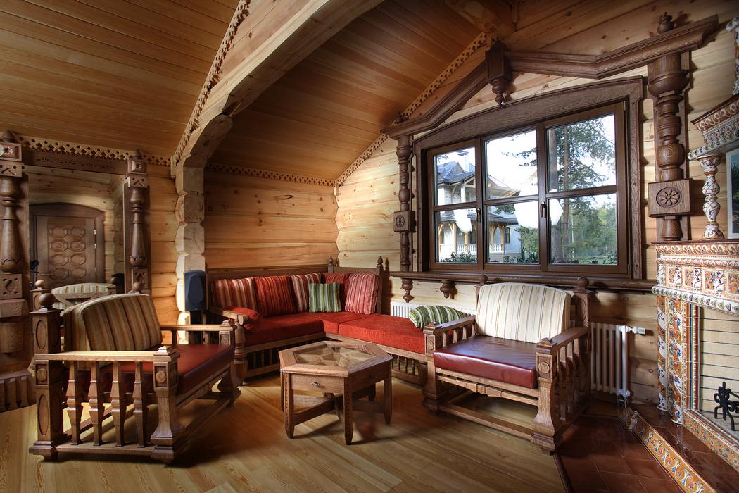 Интерьеры деревянных домов кантри