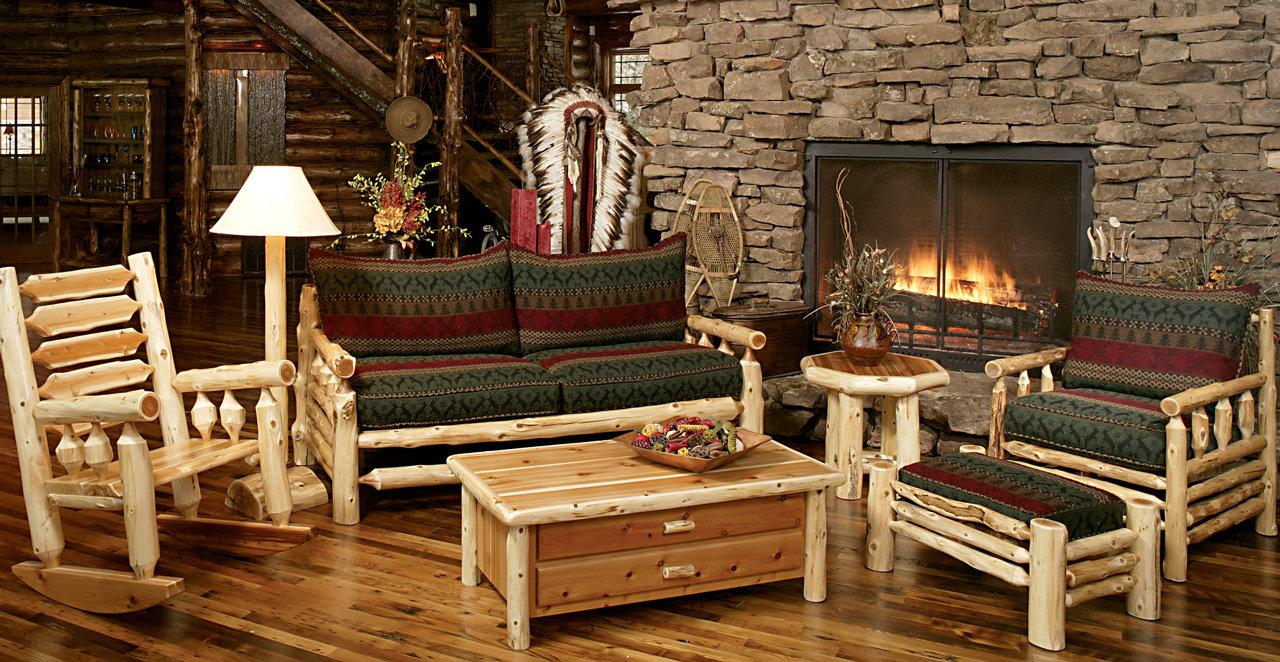 Мебель из бревна в гостиной