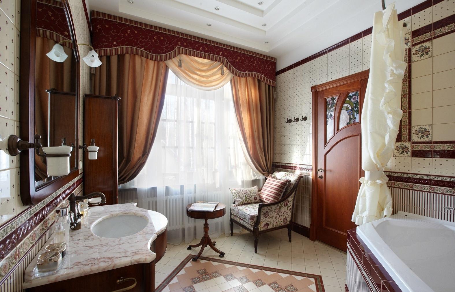 Комнатная мебель в ванной в викторианском стиле