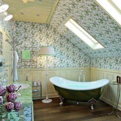 Ванная в стиле ретро на мансарде