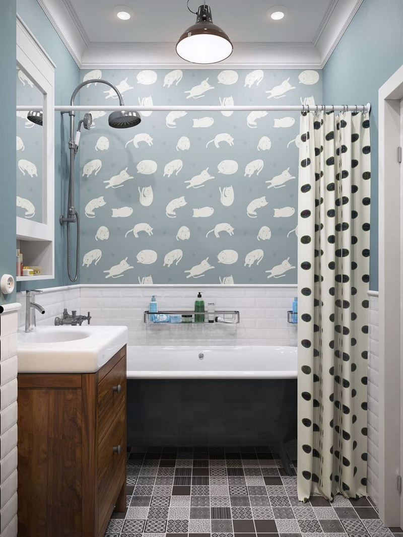 Отделка стен обоями в ванной в стиле ретро