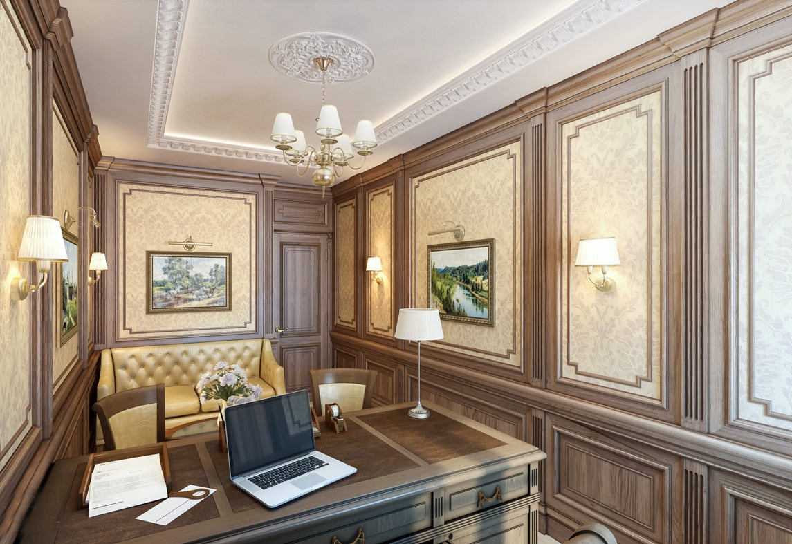 Обои и панели в интерьере в английском стиле в кабинете