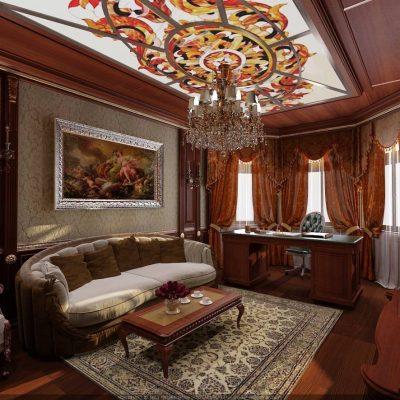 Оформление потолка в кабинете в английском стиле