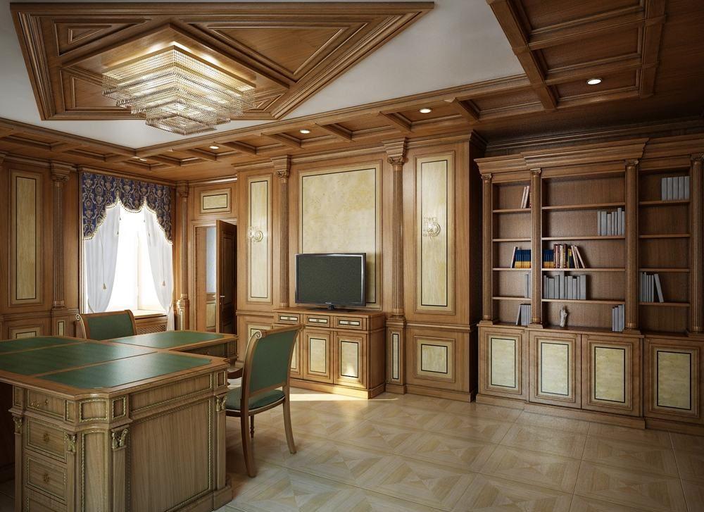 Отделка стен кабинета деревянными панелями
