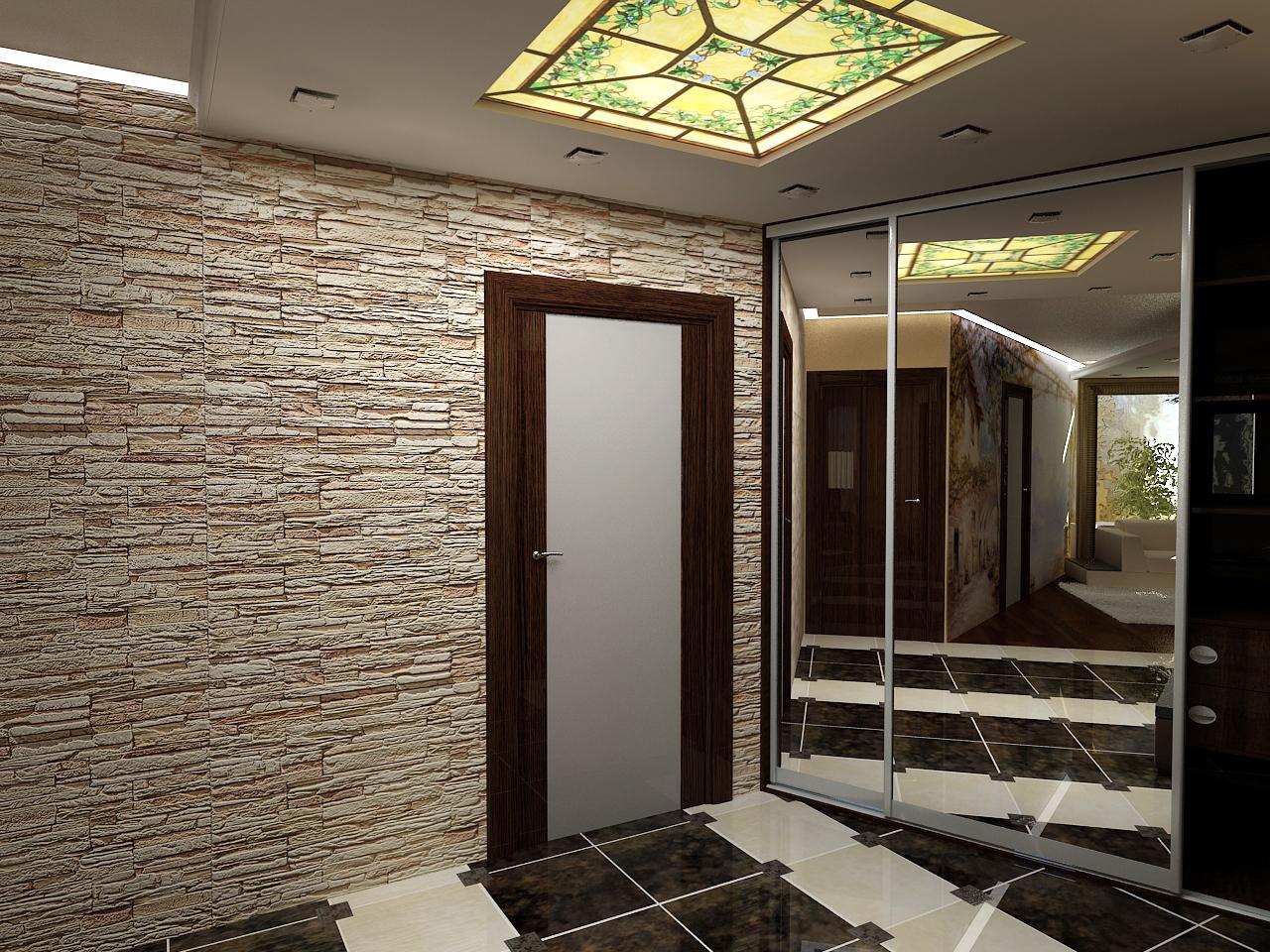 В отделке стен может быть использован натуральный камень