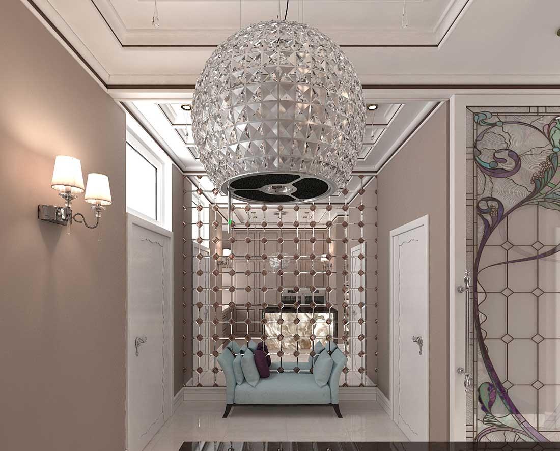 Потолочная люстра в прихожей стиля модерн - это больше аксессуар, дающий фоновое освещение