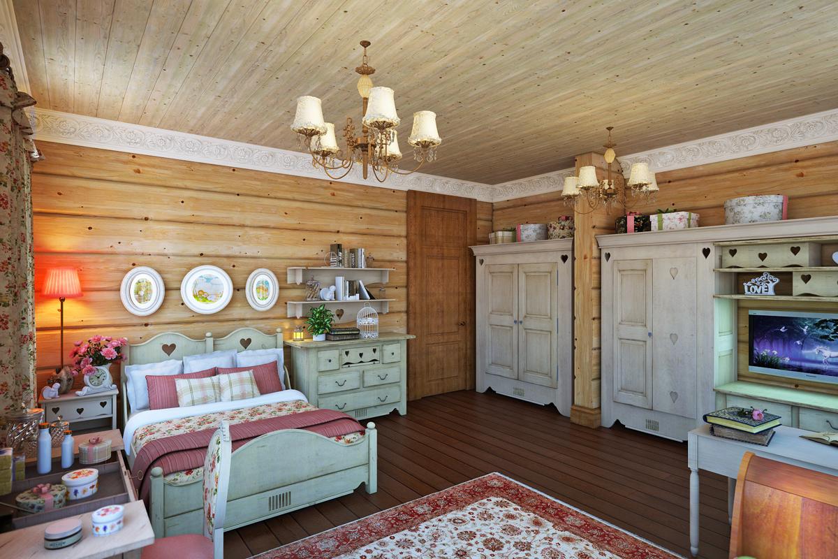 Интерьер гостиной в бревенчатом доме прованс фото