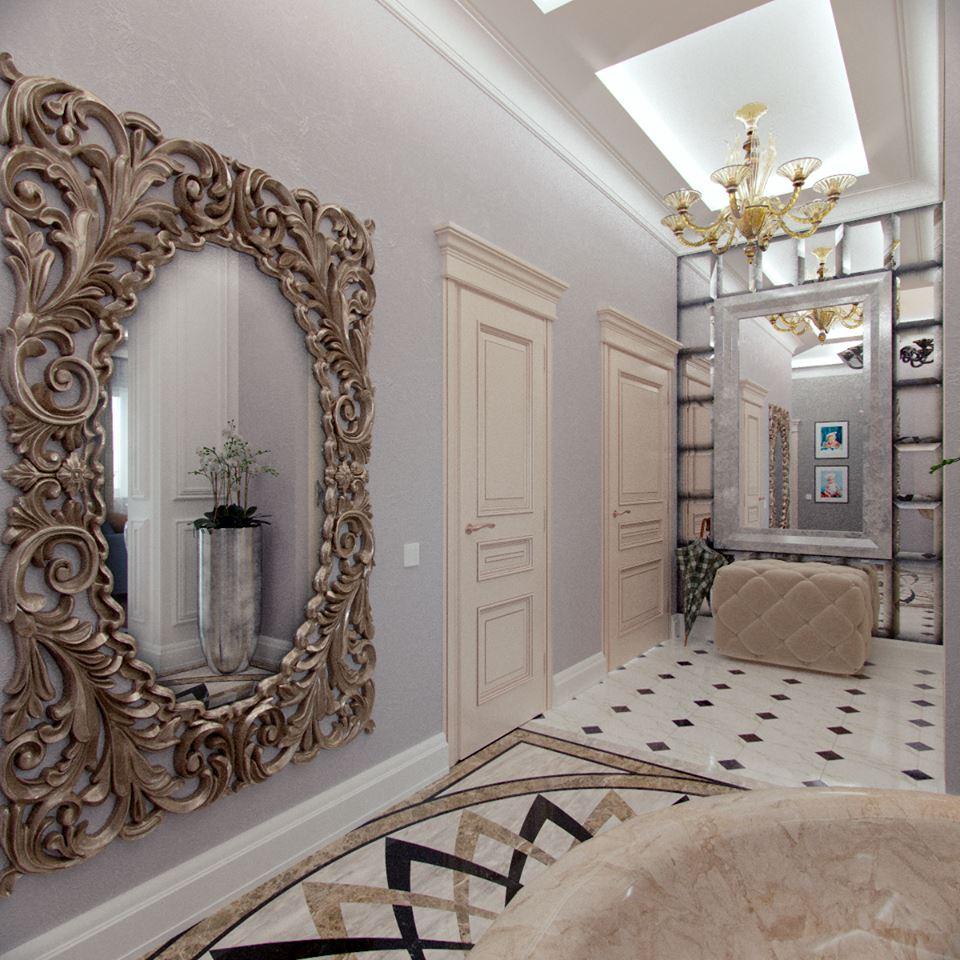 Мягкая мебель в прихожей в стиле неоклассики