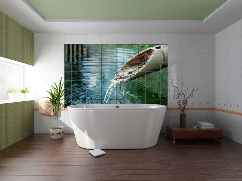 Фотоплитка с водой в ванной