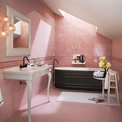 Ванная в розовых оттенках