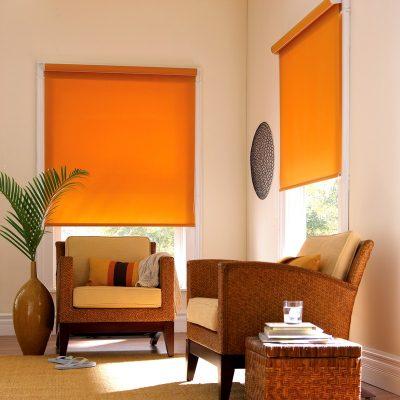 Рулонные жалюзи оранжевого цвета