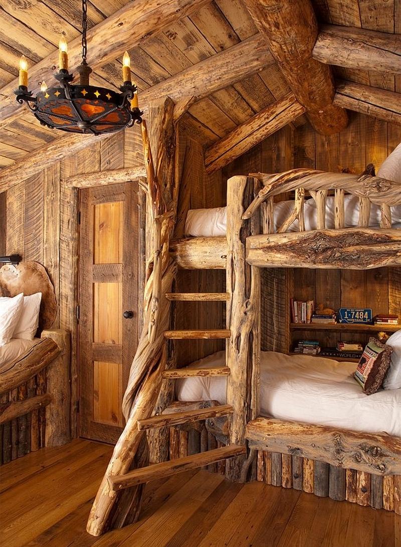 Натуральные материалы в спальне в деревенском стиле