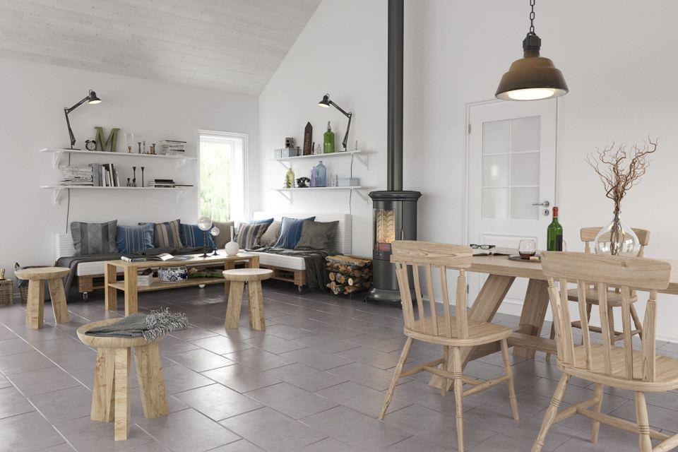 Деревянная мебель в скандинавском интерьере