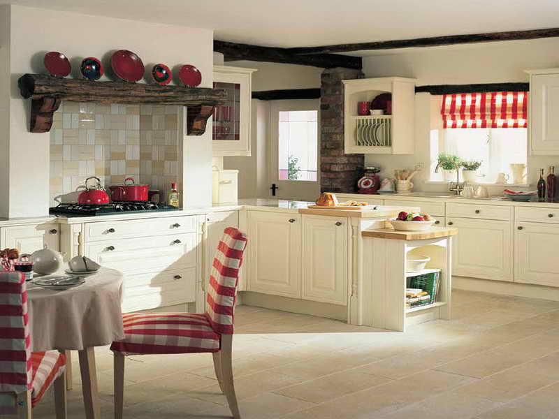Шторы под текстиль на кухне в стиле кантри