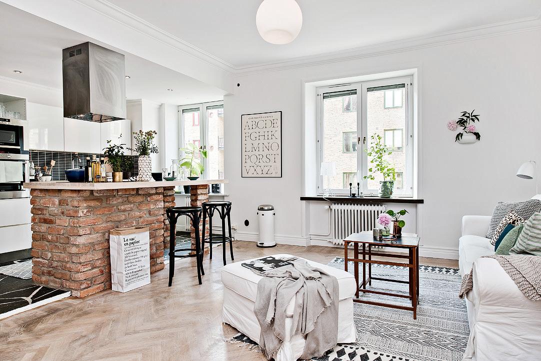 Кухня-гостиная в современном скандинавском интерьере