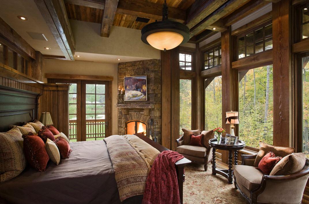 Деревянные рамы в спальне в деревенском стиле