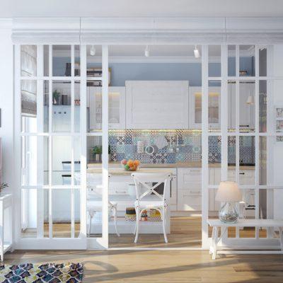Стеклянные двери-перегородка на кухню
