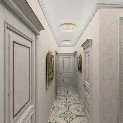 Стены под гипс в стиле неоклассики в коридоре