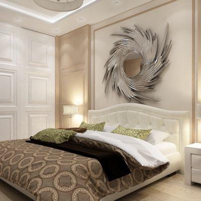 Стильное зеркало в спальне
