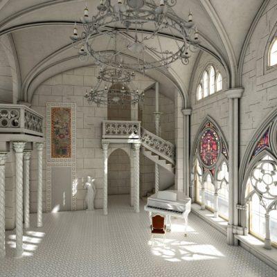 Светлый зал в готическом стиле