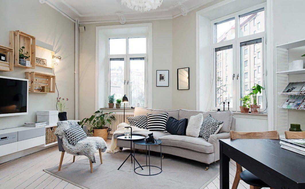 Техника в гостиной в скандинавском интерьере