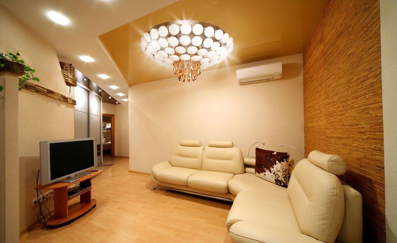 Подсветка зон в гостиной в стиле модерн точечными светильниками