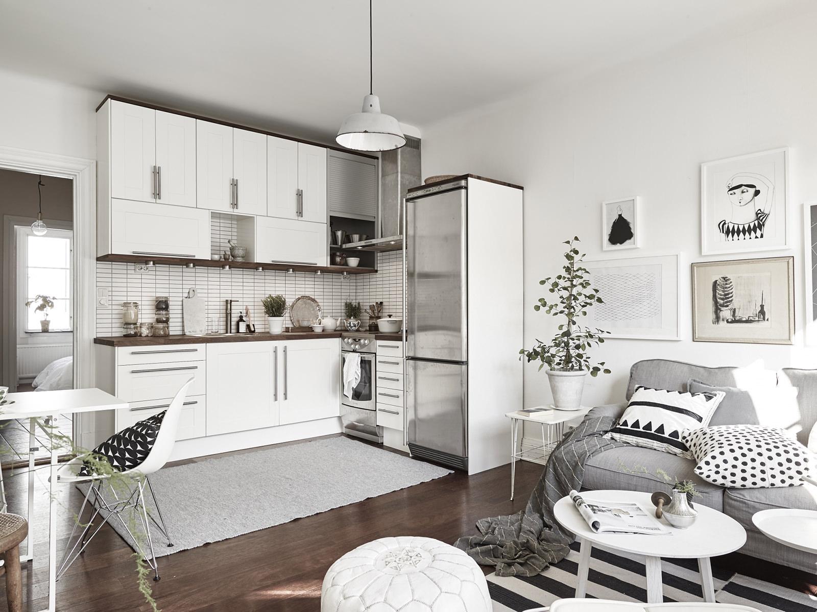 Совмещение кухни и гостиной в скандинавском интерьере